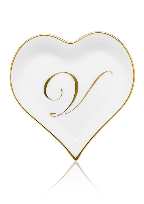 Herend Heart Tray w/ Gold Monogram V