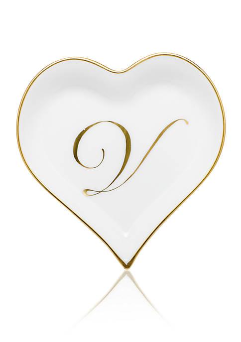 Herend Heart Tray w/ Gold Monogram V