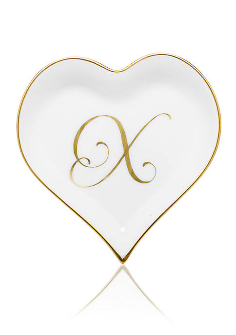Herend Heart Tray w/ Gold Monogram X