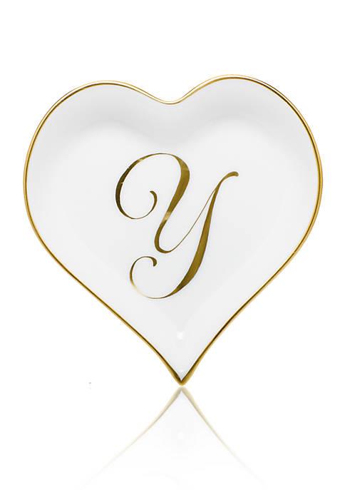 Heart Tray w/ Gold Monogram Y