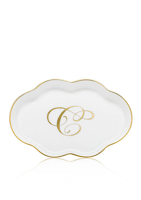 Herend Scalloped Tray w/Gold C Monogram