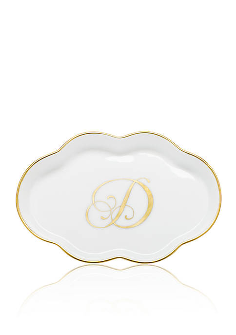 Herend Scalloped Tray w/Gold D Monogram