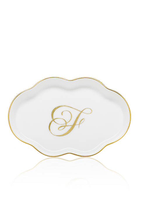 Herend Scalloped Tray w/Gold F Monogram