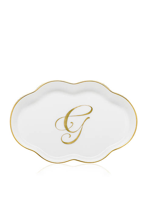 Herend Scalloped Tray w/Gold G Monogram