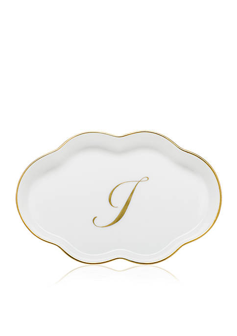 Herend Scalloped Tray w/Gold I Monogram
