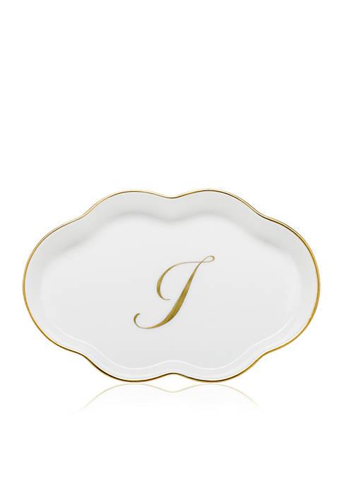 Scalloped Tray w/Gold I Monogram