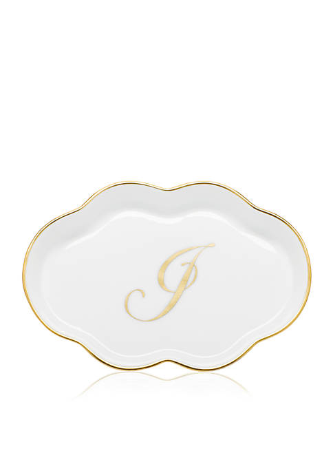 Scalloped Tray w/Gold J Monogram