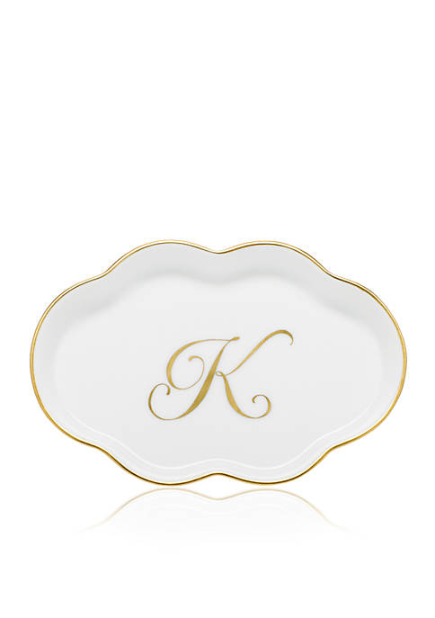 Herend Scalloped Tray w/Gold K Monogram