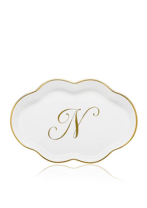 Scalloped Tray w/Gold N Monogram