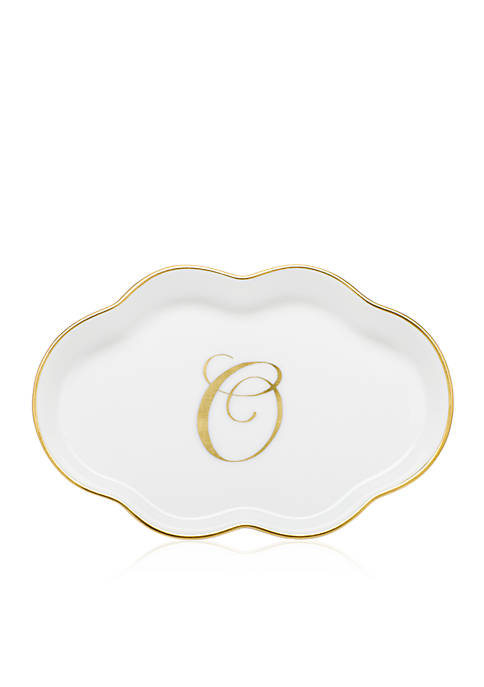 """Herend Scalloped Tray with Gold """"O"""" Monogram"""