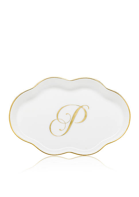"Herend Scalloped Tray with Gold ""P"" Monogram"