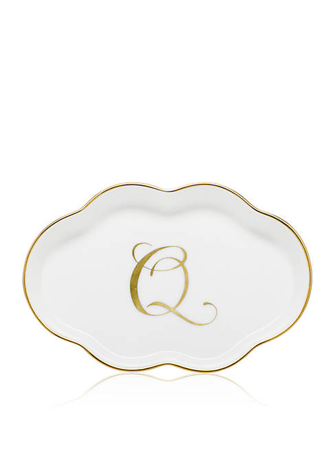 "Herend Scalloped Tray with Gold ""Q"" Monogram"