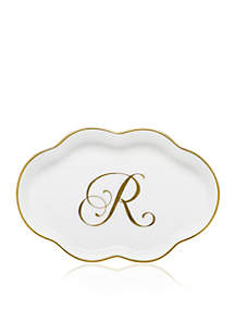 Scalloped Tray w/Gold R Monogram