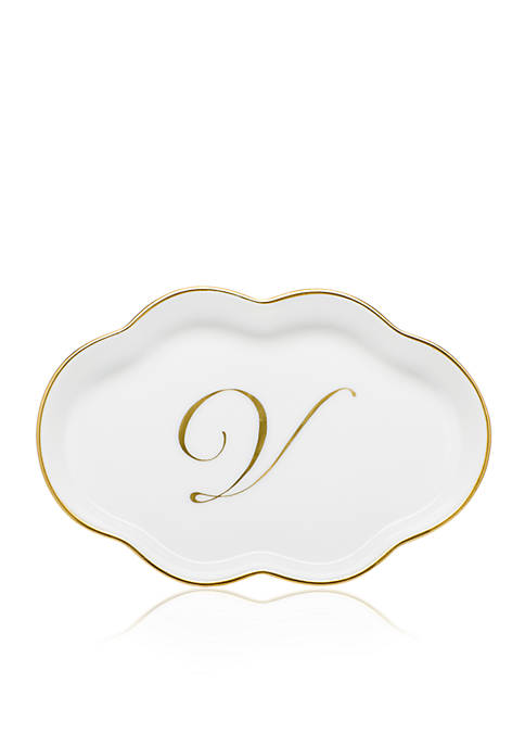 Herend Scalloped Tray w/Gold V Monogram