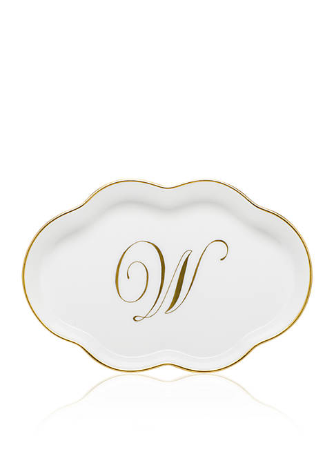 """Herend Scalloped Tray with Gold """"W"""" Monogram"""