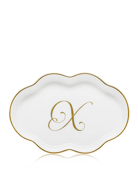 Herend Scalloped Tray w/Gold X Monogram