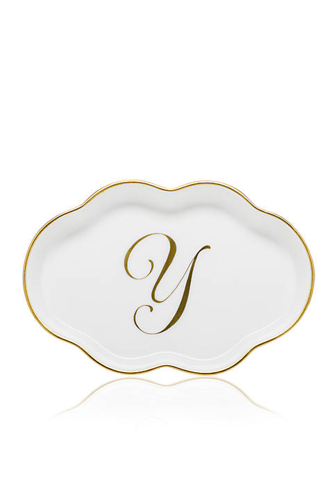 Herend Scalloped Tray w/Gold Y Monogram