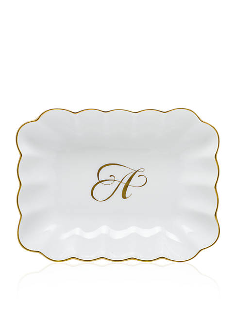 """Herend Oblong Dish with Gold """"A"""" Monogram"""