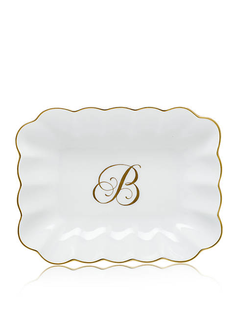Herend Oblong Dish W/ Gold B Monogram
