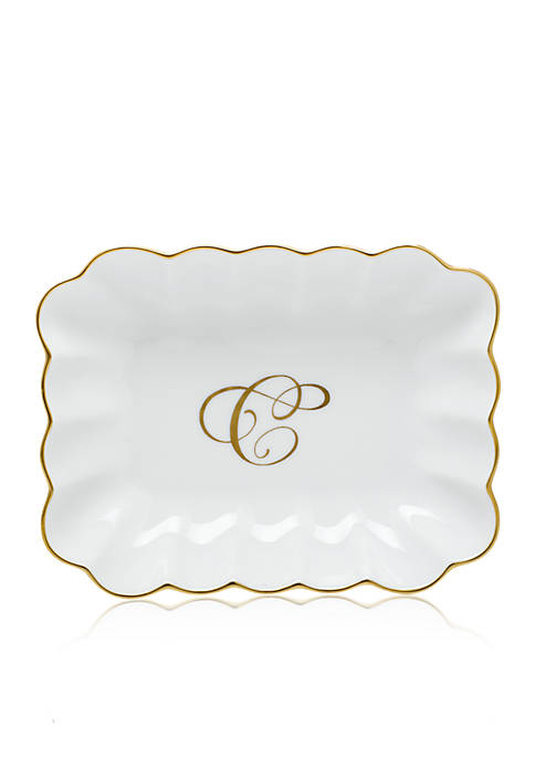 "Herend Oblong Dish with Gold ""C"" Monogram"