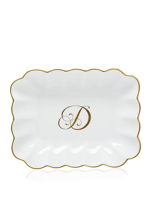 Herend Oblong Dish W/ Gold D Monogram