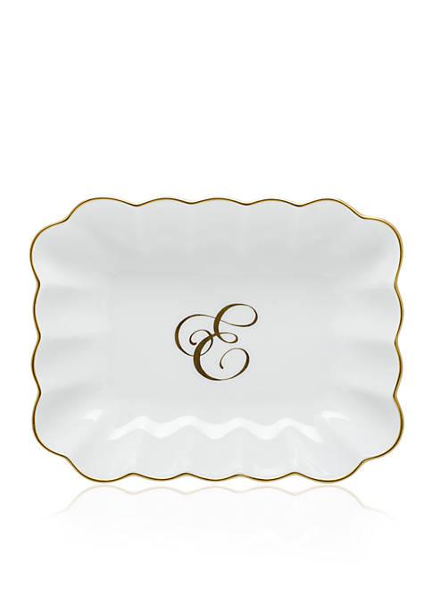 Oblong Dish W/ Gold E Monogram