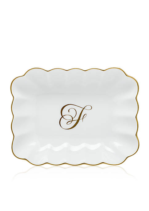 "Oblong Dish with Gold ""F"" Monogram"
