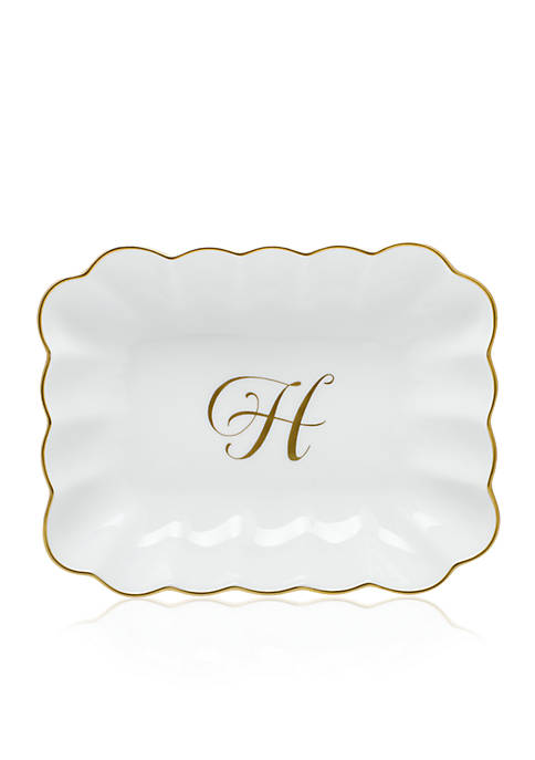 Herend Oblong Dish W/ Gold H Monogram