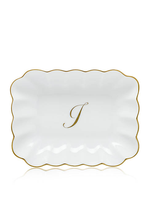 Herend Oblong Dish W/ Gold I Monogram