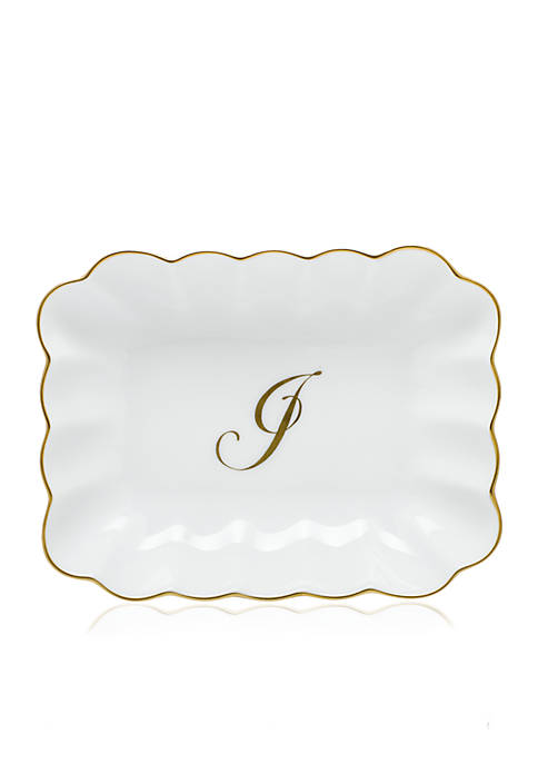 Herend Oblong Dish W/ Gold J Monogram
