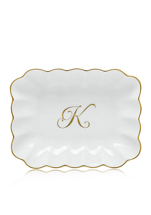 Herend Oblong Dish W/ Gold K Monogram