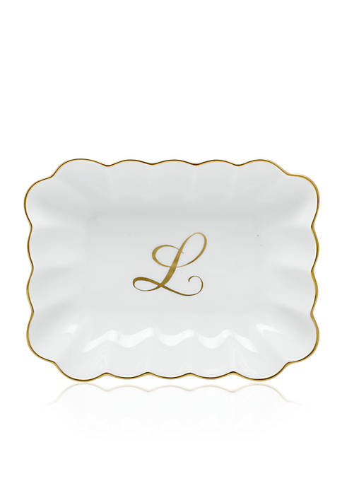Herend Oblong Dish W/ Gold L Monogram