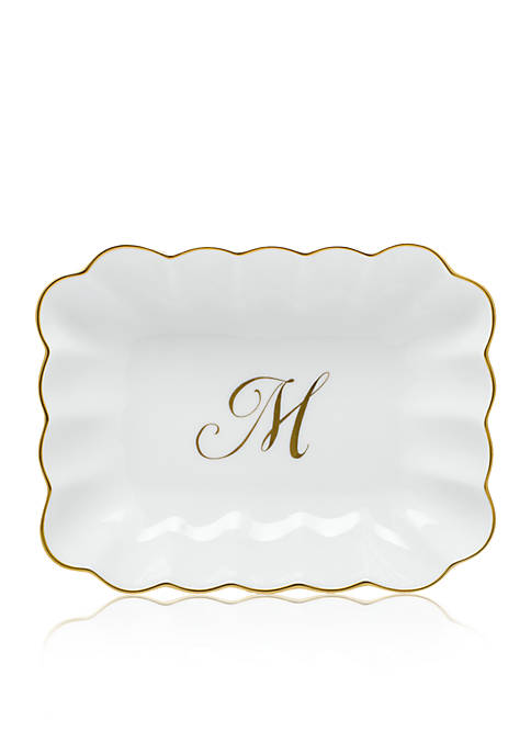"""Herend Oblong Dish with Gold """"M"""" Monogram"""