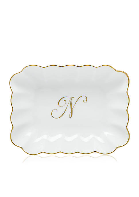 Herend Oblong Dish W/ Gold N Monogram