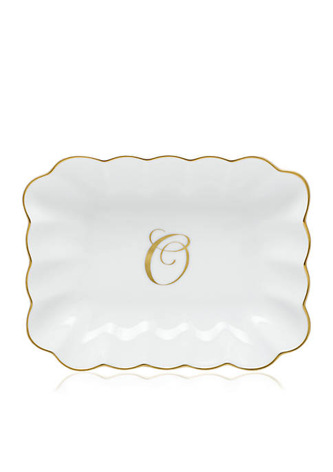 Oblong Dish W/ Gold O Monogram