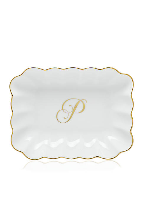Herend Oblong Dish W/ Gold P Monogram