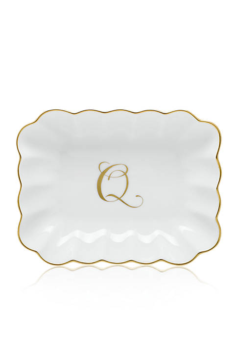 "Herend Oblong Dish with Gold ""Q"" Monogram"