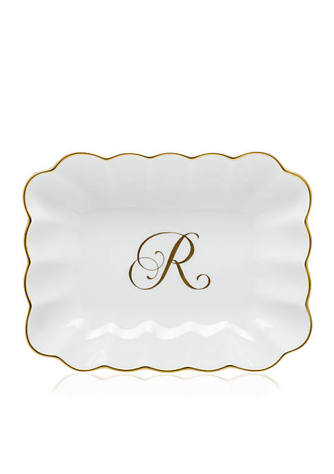 Herend Oblong Dish W/ Gold R Monogram