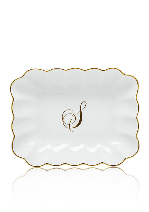 Herend Oblong Dish W/ Gold S Monogram