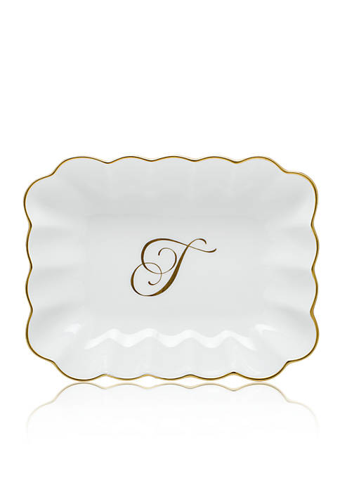 Oblong Dish W/ Gold T Monogram