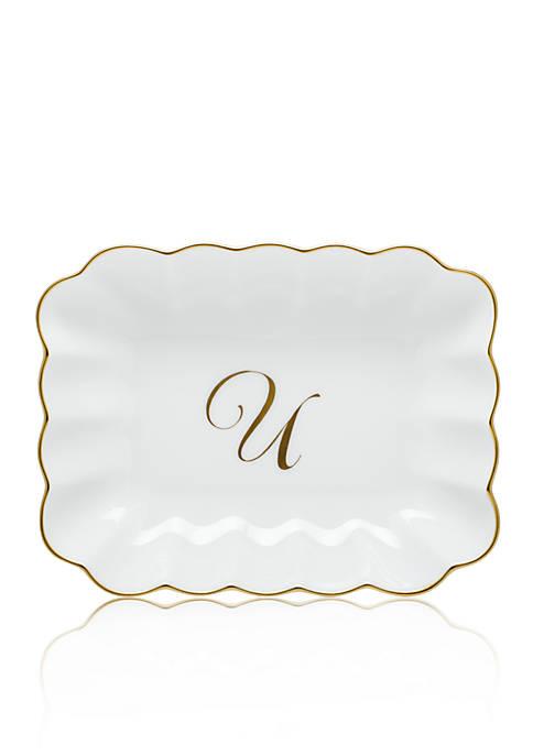 Oblong Dish W/ Gold U Monogram