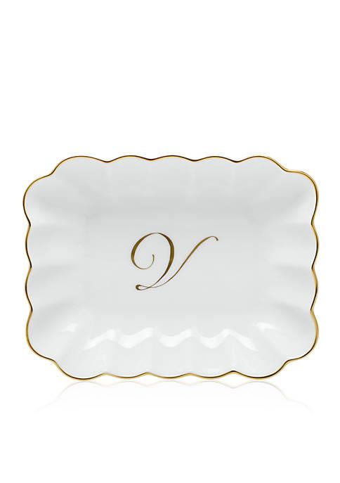 "Oblong Dish with Gold ""V"" Monogram"