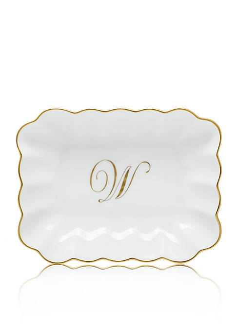 Herend Oblong Dish W/ Gold W Monogram