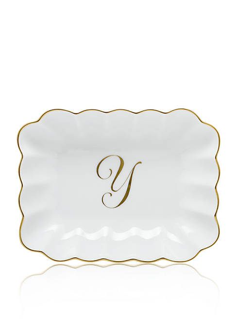 Herend Oblong Dish W/ Gold Y Monogram