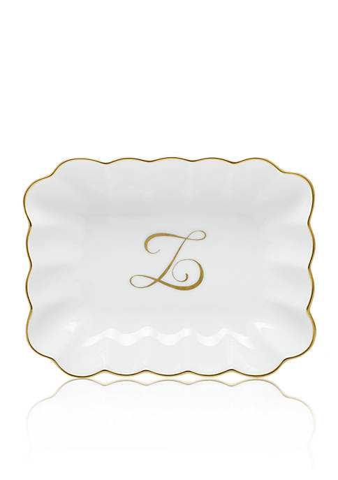Oblong Dish W/ Gold Z Monogram