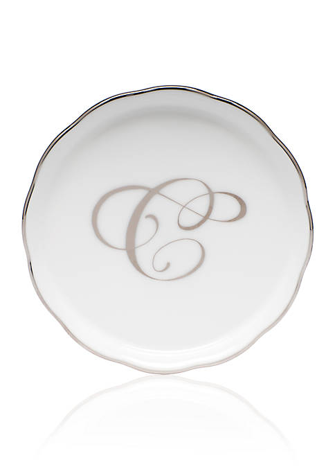 Herend Golden Edge Platinum C Monogram Coaster