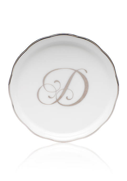 Herend Golden Edge Platinum D Monogram Coaster