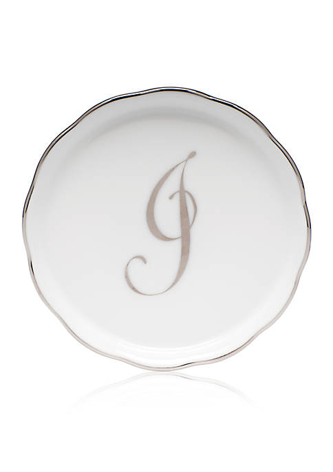 Herend Golden Edge Platinum J Monogram Coaster