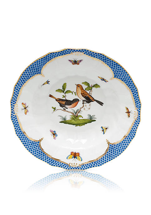 Blue Border Rim Soup Bowl - Motif #9