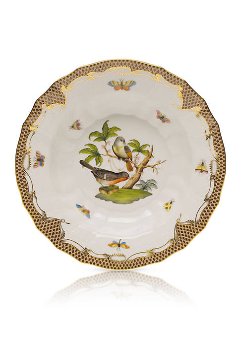 Herend Rothschild Bird Brown Border Rim Soup Bowl